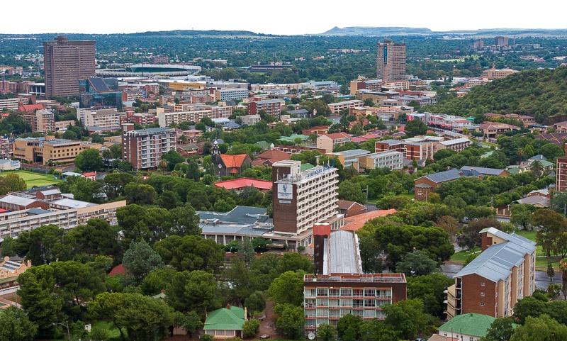 Bloemfontein CBD seen from Naval hill looking in a westerly direction