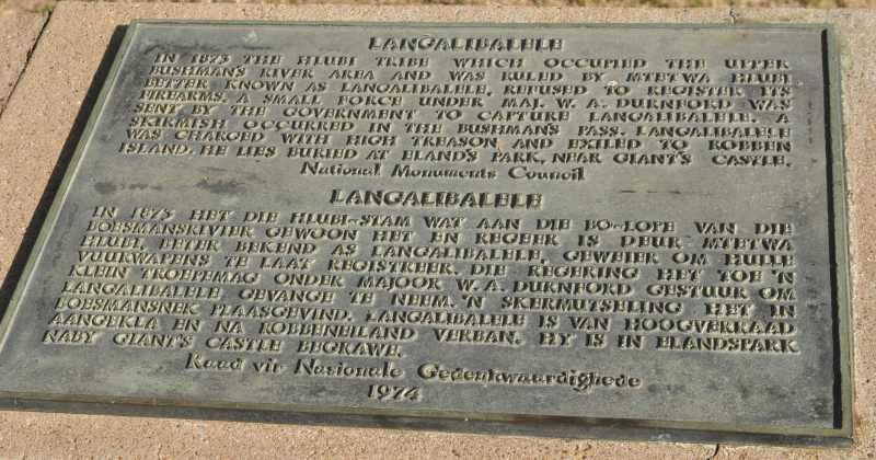 Langalibalele plaque at Fort Durnford