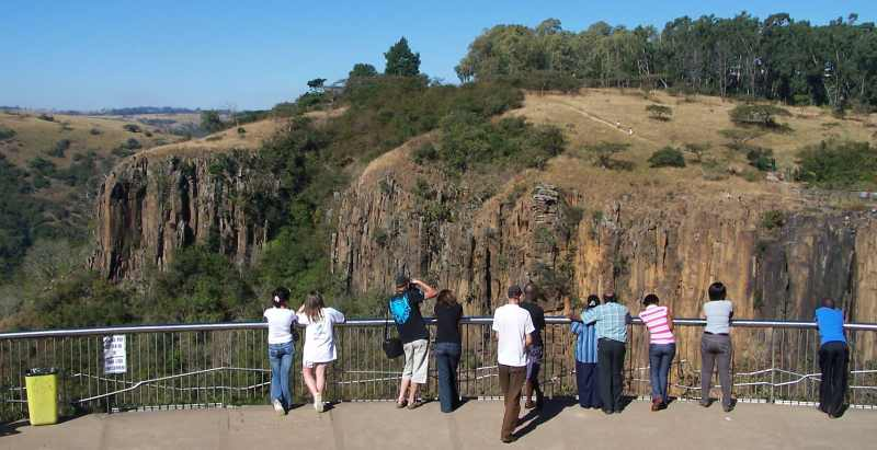 Tourists at the excellent view site overlooking Howick Falls
